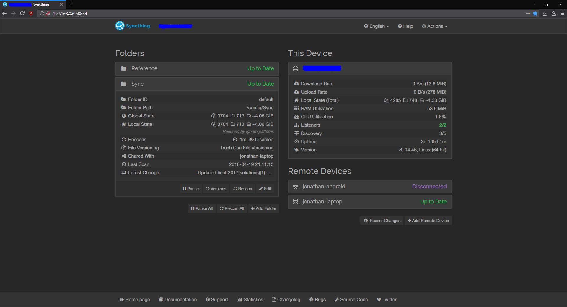 Syncthing GUI, dark theme